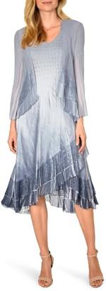 Komarov Lace Trim Charmeuse & Chiffon Tiered Dress with Jacket