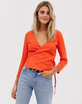JDY ribbed wrap cropped top