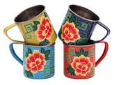 Karma Living Asian Flower Mugs - Set of 4