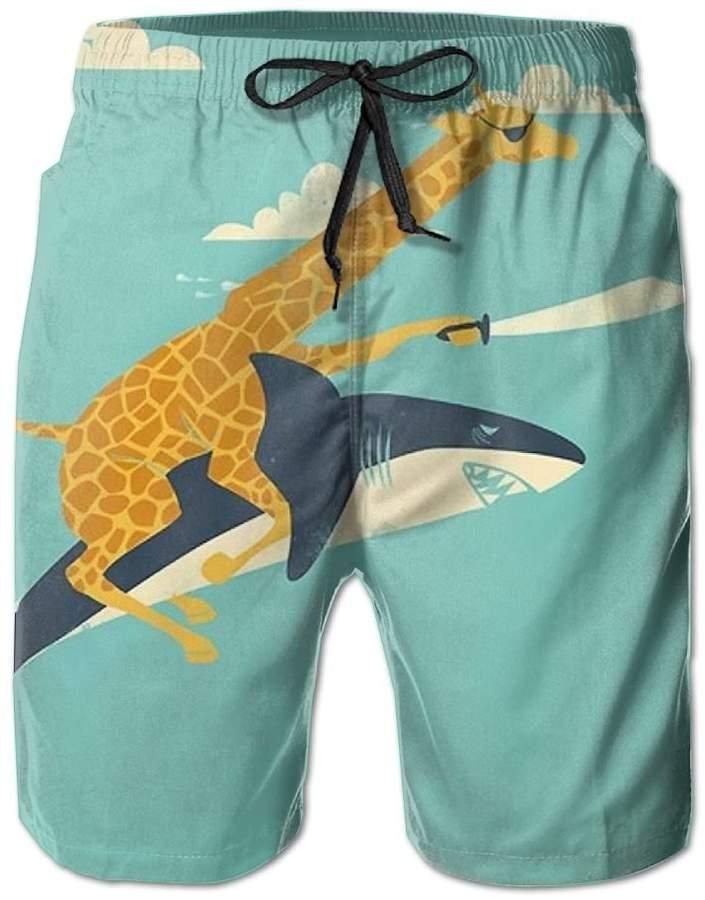 Trunks Kla Ju Beach Shorts Swim Funny Giraffe Shark Illustration Sports Casual Drawstring Surf Pants with Pockets Bathing Suits Men