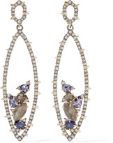 Alexis Bittar Gunmetal and gold-plated crystal earrings