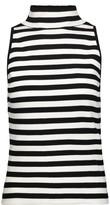 Milly Striped stretch-knit turtleneck top