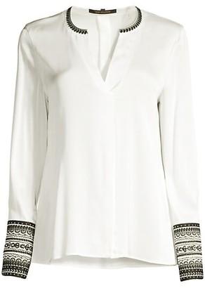 Kobi Halperin Jona Embroidered-Cuff Stretch-Silk Blouse
