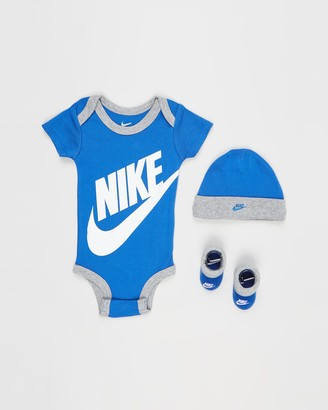 Nike Blue Beanies - Futura Three-Piece Bodysuit, Beanie & Booties Set - Babies - Size 0-6 months at The Iconic