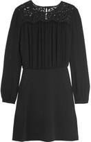 MICHAEL Michael Kors Lace-paneled Crepe Mini Dress - Black