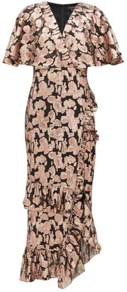 Saloni Floral Fil-coupe Silk-blend Dress - Womens - Black Pink
