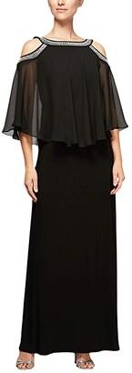 Alex Evenings Long Chiffon Cold-Shoulder Popover Dress (Black) Women's Clothing