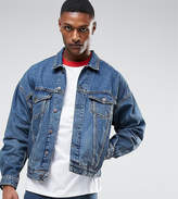 Asos Tall Oversized Denim Jacket In Mid Wash