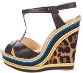 Christian Louboutin T-Strap Espadrille Wedges