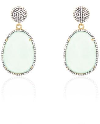 ADORNIA Two Drop Halo Brass Aqua Chalcedony Crystal Earrings