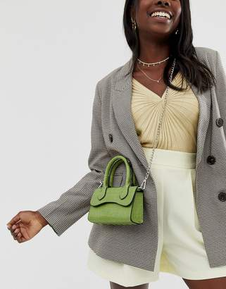 Asos Design DESIGN micro grab bag with curved flap and detachable strap-Green