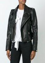 Faith Connexion Boxy Leather Moto Jacket Black