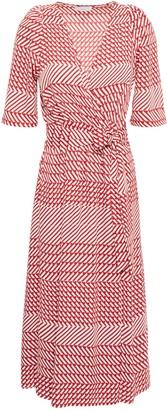 Joie Cata Printed Crepe De Chine Midi Wrap Dress