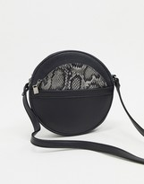 French Connection circular shoulder bag with removable snake purse