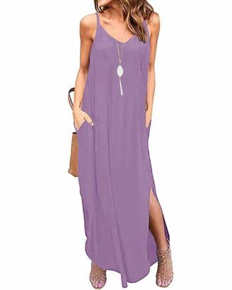 KIDSFORM Women Maxi Dress Side Split Casual Loose Pockets Sundress Short Sleeve Summer Beach T-Shirt Dress H-Black S