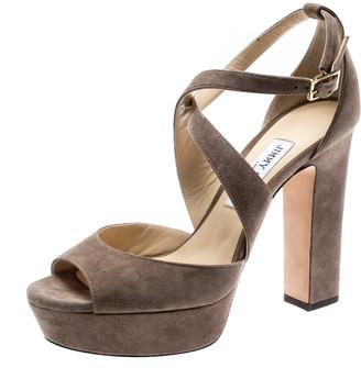 Jimmy Choo Beige Suede April Cross Strap Platform Block Heel Sandals Size 39