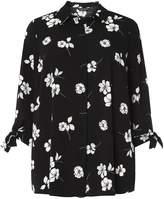 Dorothy Perkins DP Curve Black Floral Print Tie Sleeve Shirt