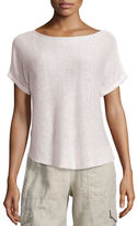 Eileen Fisher Short-Sleeve Bateau-Neck Linen Box Top, Petite