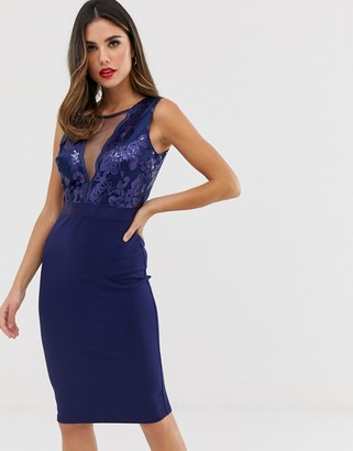 City Goddess pencil midi dress with sequin detail
