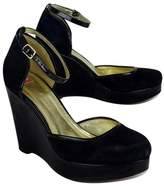 Elaine Turner Designs Black Suede & Patent Platform Wedges