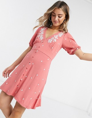 ASOS DESIGN mini tea dress with flower embroidery in rose