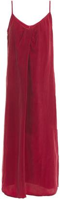 Stateside Pleated Washed-cupro Midi Dress