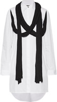 MM6 MAISON MARGIELA Draped jersey-trimmed cotton-poplin shirt dress