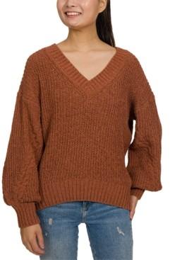 Hippie Rose Juniors' Chenille Balloon Sleeve Sweater