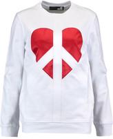 Love Moschino Embroidered Satin-Paneled Cotton-Jersey Sweatshirt