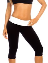 Musotica Sexy Roll Down Sport Band Stretch To Fit Shred Capri Yoga Leggings