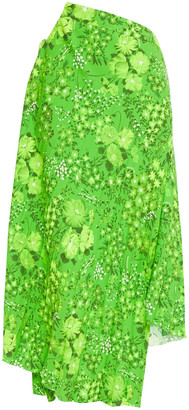Balenciaga Asymmetric Pleated Floral-print Crepe Skirt