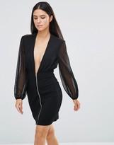 Rare Zip Front Plunge Mini Dress