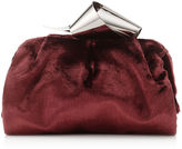 Jimmy Choo CARA/S Navy Fluid Velvet Slouchy Clutch Bag