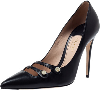 Gucci Black Leather Aneta Pointed Toe Pumps Size 35.5
