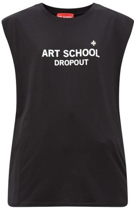 Art School Logo-print Cotton-jersey Vest - Black White
