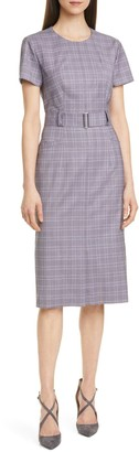 HUGO BOSS Danetty Plaid Belted Sheath Dress