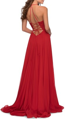 La Femme Square-Neck Lace-Up Corset Gown with High-Slit