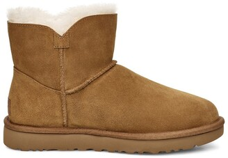 UGG Classic Mini Bailey Fluff Buckle Nubuck Ankle Boots