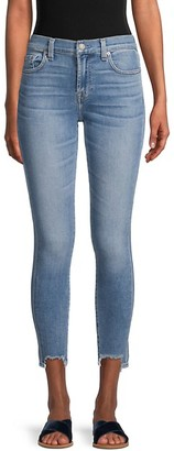 7 For All Mankind Gwenevere Mid-Rise Raw Hem Ankle Skinny Jeans