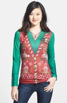 Women's Faux Real 'Ugly Christmas Vest' Long Sleeve T-Shirt