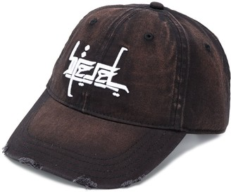 Diesel Bleached Effect Embroidered Baseball Cap