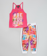 Dollhouse Pink '#BeYouTiful' Tank & Joggers - Infant Toddler & Girls