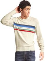 Southwestern chest-stripe crew sweater