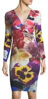 Roberto Cavalli V-Neck Long-Sleeve Fitted Floral-Print Dress
