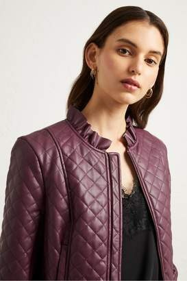 French Connection Brishen PU Frill Edge Jacket