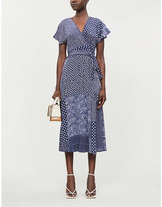 Diane von Furstenberg Kelsey contrast-print silk midi dress