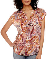Liz Claiborne Sleeveless Paisley Studded Blouse - Tall