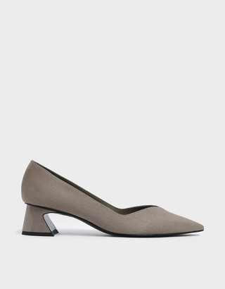 Charles & KeithCharles & Keith Curved Block Heel Textured Court Shoes