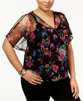 INC International Concepts Plus Size Butterfly-Sleeve Blouson Top, Only at Macy's
