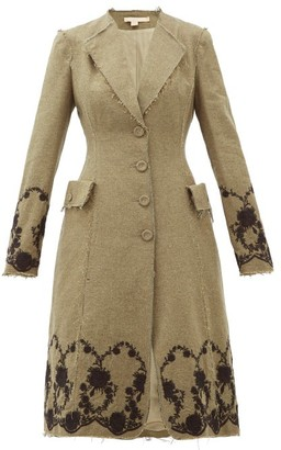 Brock Collection Floral-embroidered Tweed Coat - Womens - Khaki